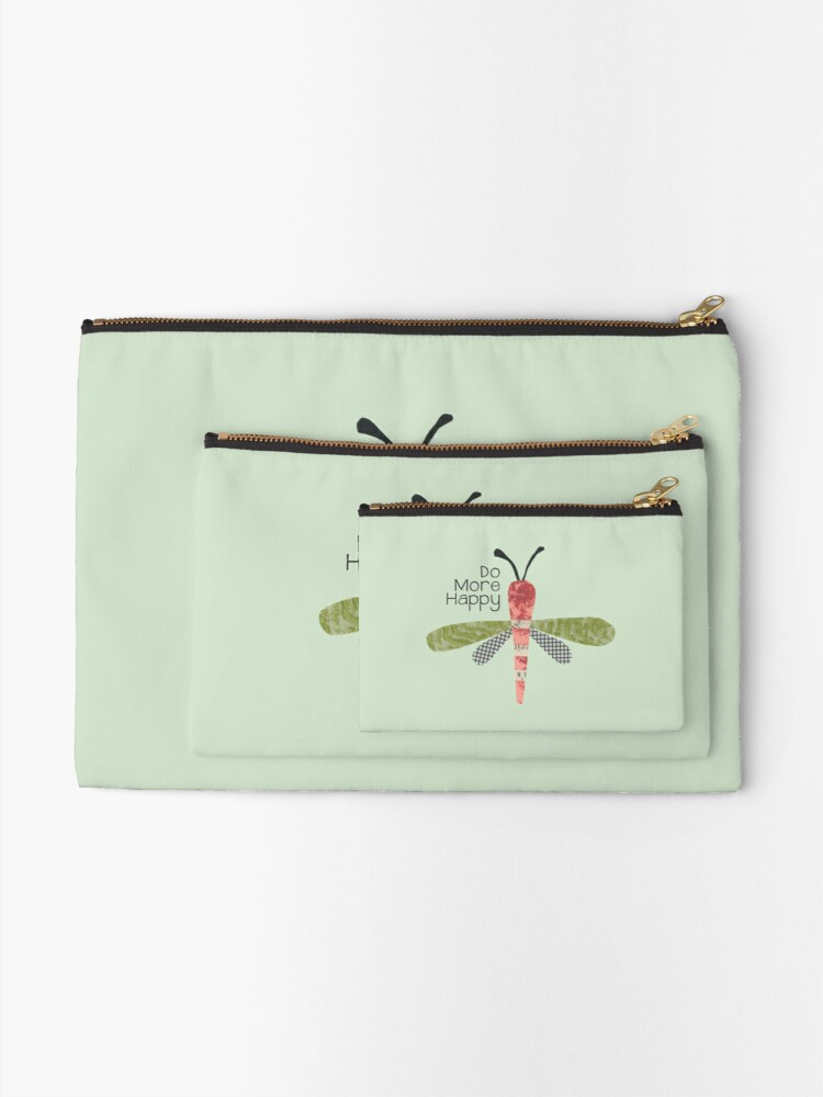 Alternate view of Do More Happy Dragonfly (red) Zipper Pouch