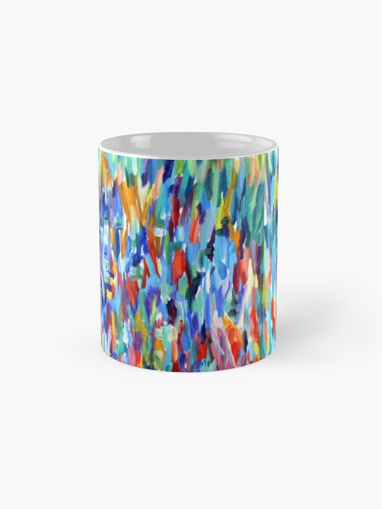 Alternate view of Blue in Bloom. Impressionist organic nature design. From painting by Pamela Parsons Mug