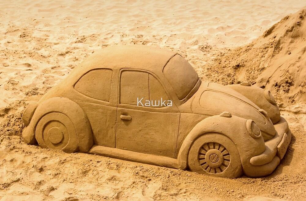 Volkswagen Beetle on Beach by Kawka