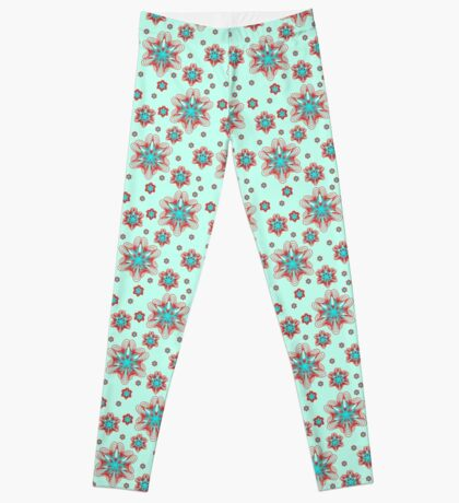 Spirographs with red and blue pattern Leggings