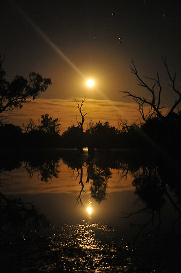 Moonrise reflections by Wayne England