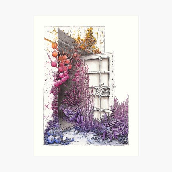Openings - Vallisaari #2 Nature Taking Over a Door, Rainbow Watercolor Art Print