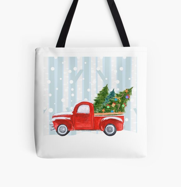Red PickUp Truck Snowy Background All Over Print Tote Bag
