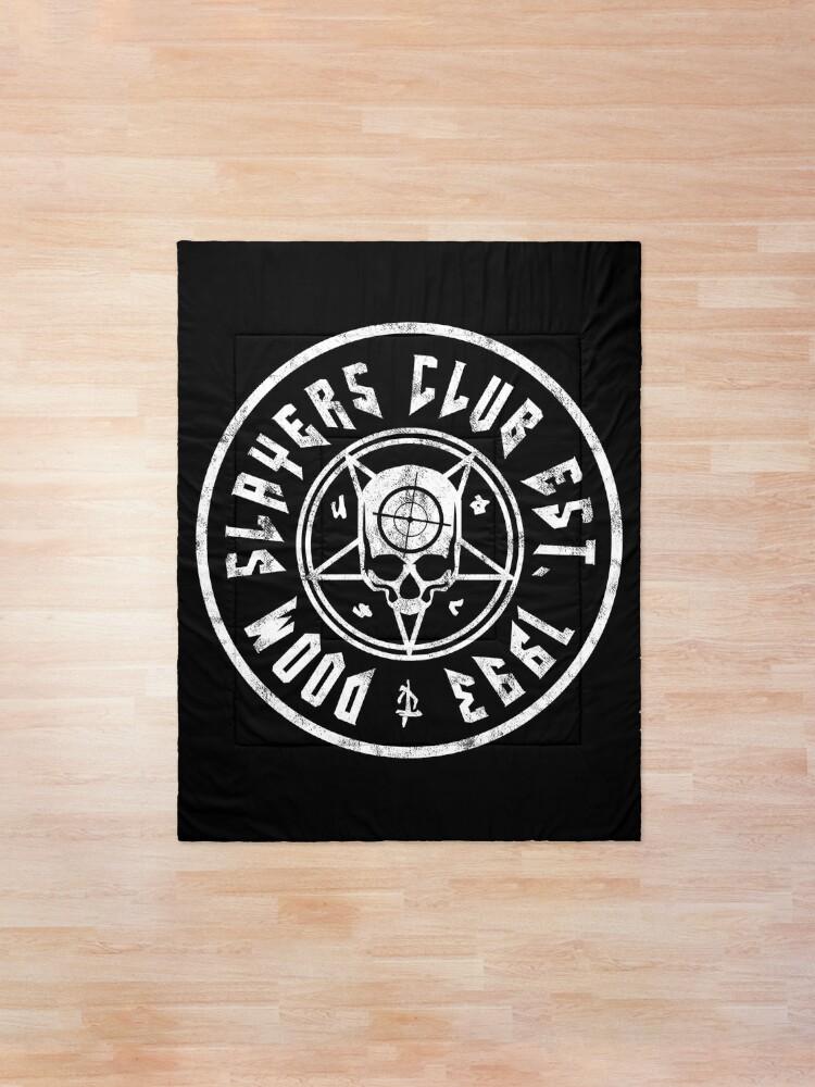 Alternate view of Doom Slayers Club | Doom Eternal Emblem | White Print Comforter