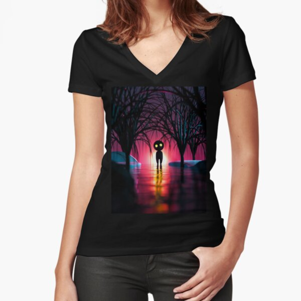 Shadow in the Forest Fitted V-Neck T-Shirt