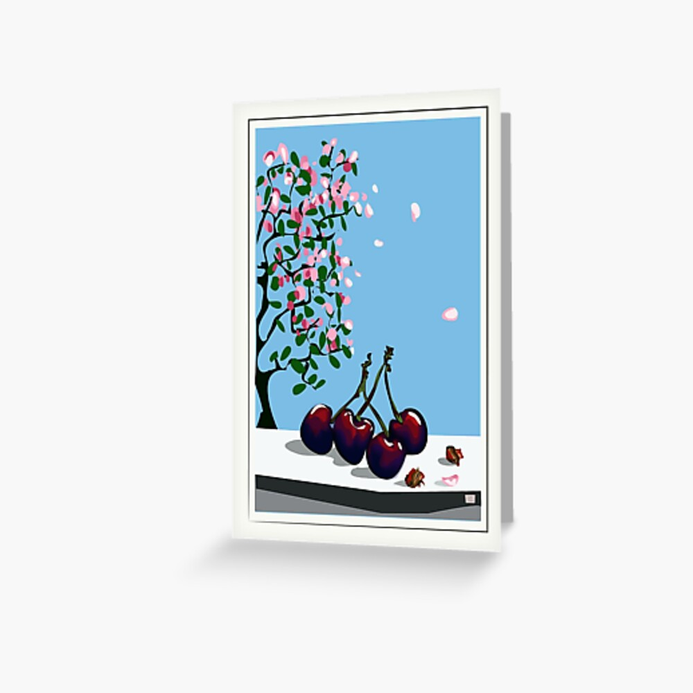Cherries against a background of blossom Greeting Card