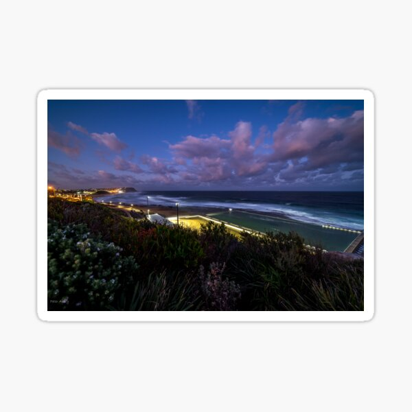merewether baths at twilight Sticker