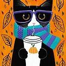 Autumn Tuxedo Coffee Cat by Ryan Conners