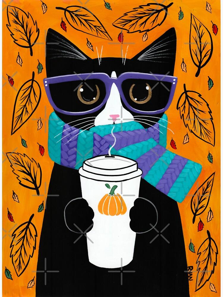 Autumn Tuxedo Coffee Cat by kilkennycat