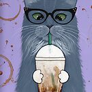 Grey Cat with Iced Coffee by Ryan Conners