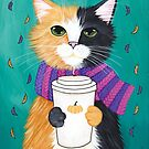Autumn Calico Coffee Cat by Ryan Conners