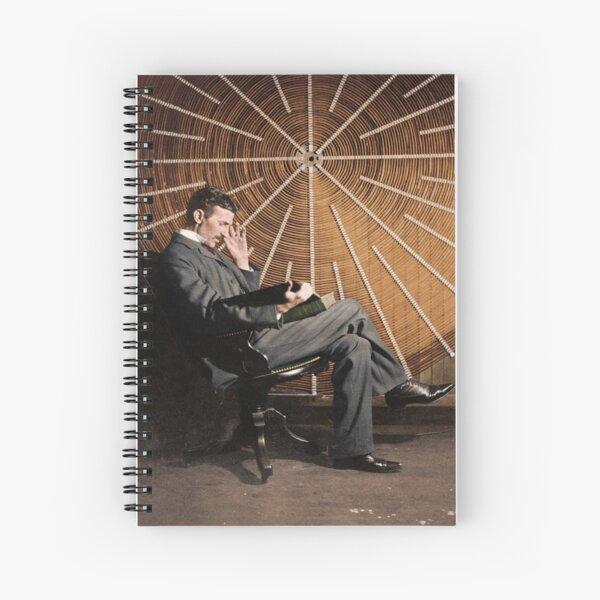 Nikola Tesla in front of a spiral coil Spiral Notebook
