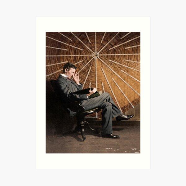 Nikola Tesla in front of a spiral coil Art Print
