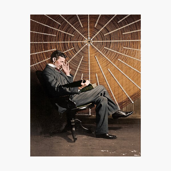 Nikola Tesla in front of a spiral coil Photographic Print
