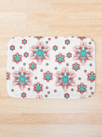 Spirographs with red and blue pattern Bath Mat