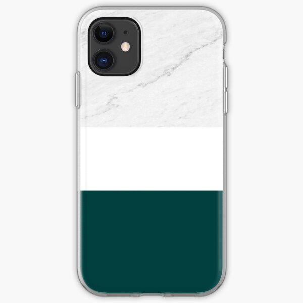 MARBLE TEAL WHITE COLOR BLOCK MODERN GEOMETRY iPhone Soft Case