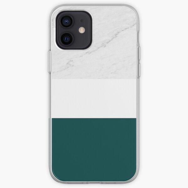 Marmor Teal Weiß Farbblock Moderne Geometrie iPhone Flexible Hülle