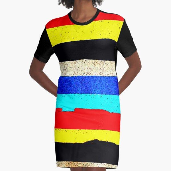Colourful Horizontal Stripes  Graphic T-Shirt Dress