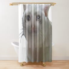 Crying Cat  Shower Curtain