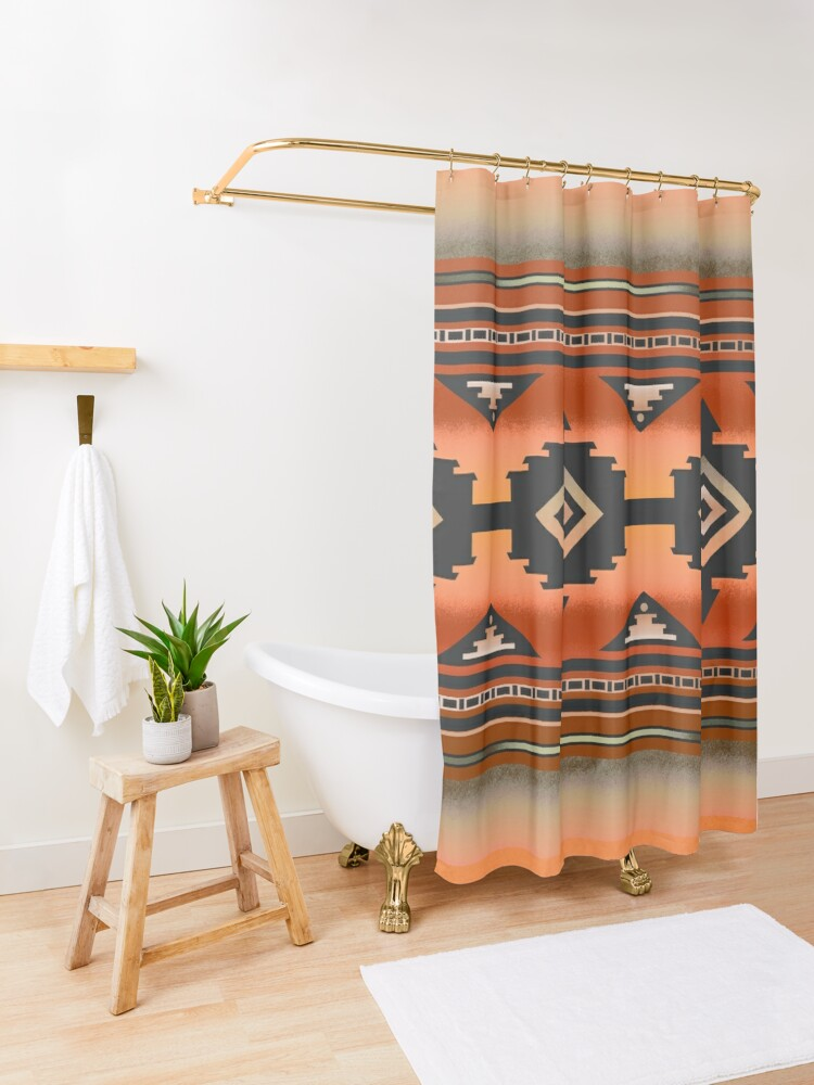 Alternate view of Canyon | Navajo Rust Shower Curtain