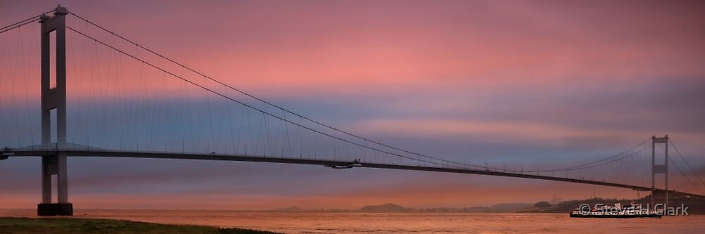 MV Balmoral Passing the Severn Bridge at Sunrise by © Steve H Clark
