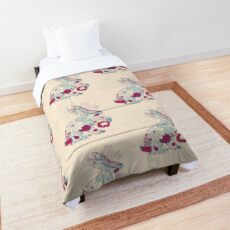 Pink and Burgundy Spring Rabbit Comforter
