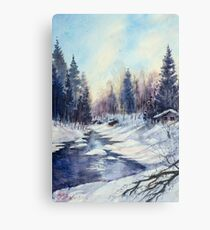Winter river in the Laurentian Mountains. Quebec Canvas Print