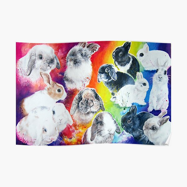 Painted bunnies in a rainbow  Poster