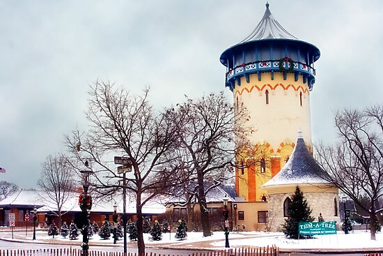 Winter Water Tower, Riverside, Illinois by brian gregory