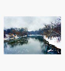 Des Plaines Rive in Winter, Riverside, Illinois Photographic Print