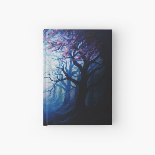 Spiritual woodland landscape.  Fantasy art painting.  Trees and darkness Hardcover Journal
