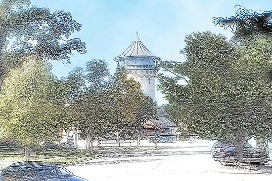 Summer Water Tower, Riverside, Illinois by brian gregory