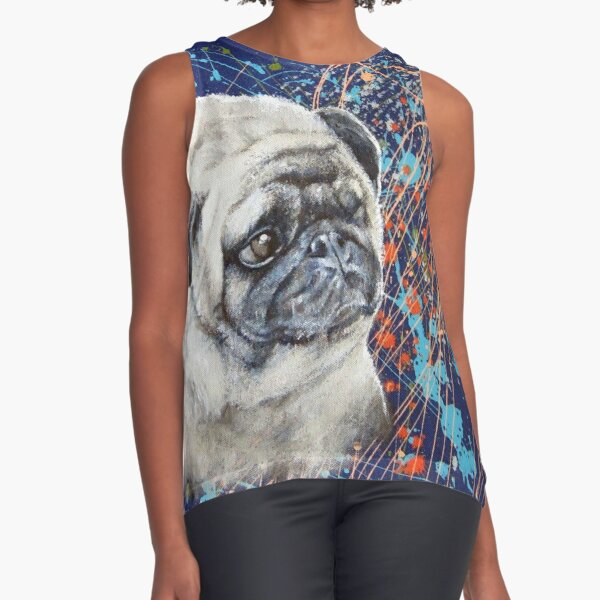 Abstract realism painting of a Pug Sleeveless Top