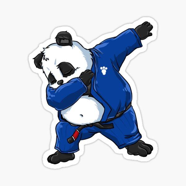 Brazilian Jiu Jitsu Panda Dabbing in a Gi and Black Belt BJJ Sticker