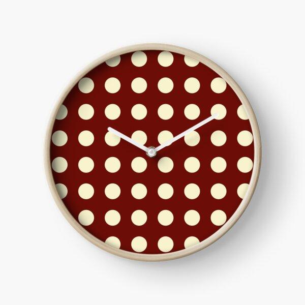 Burgundy and Cream Polka Dots Clock