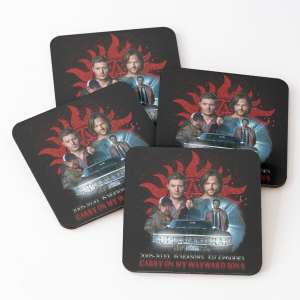 Supernatural Family dont end with Blood 4R Coasters (Set of 4)