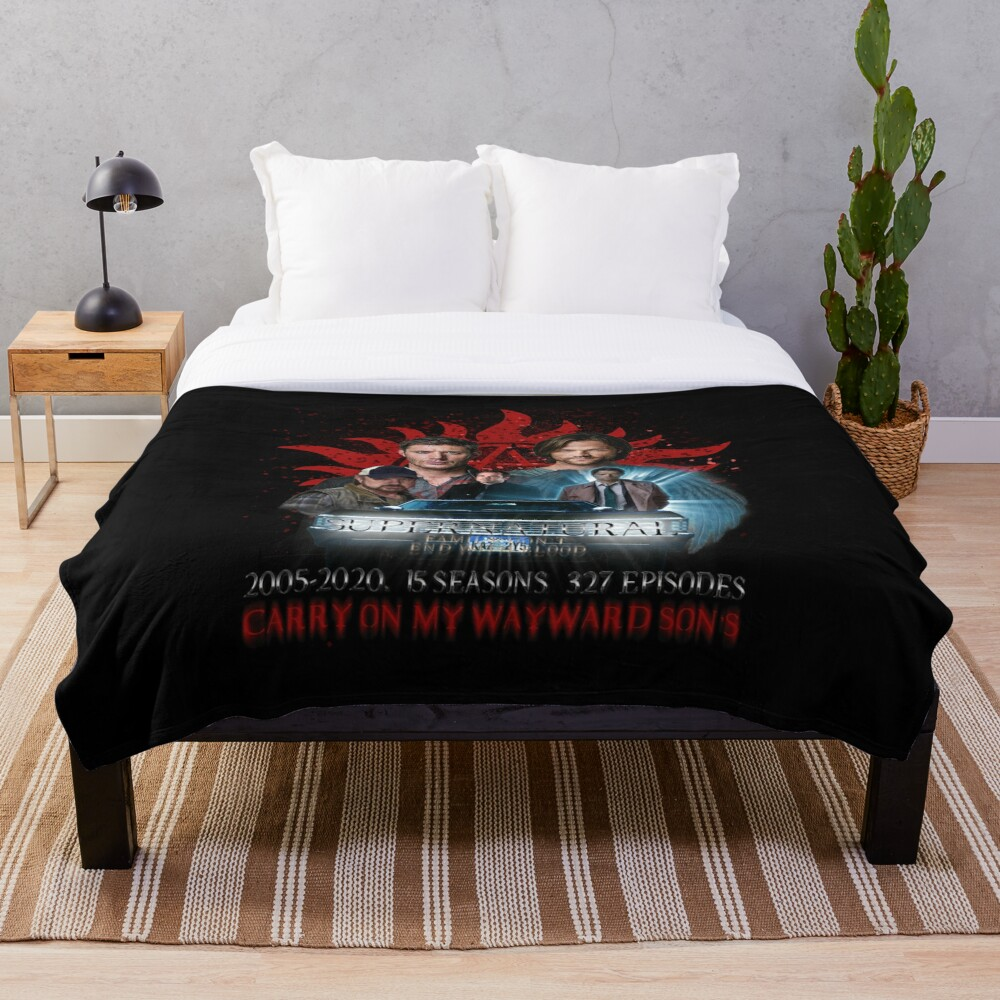 Supernatural Family dont end with Blood 4R Throw Blanket