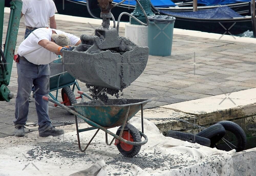 Concrete Pour into Wheelbarrow with Workmen by JHMimaging