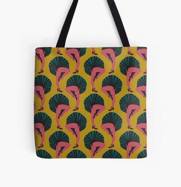 French Cancan Mustard All Over Print Tote Bag