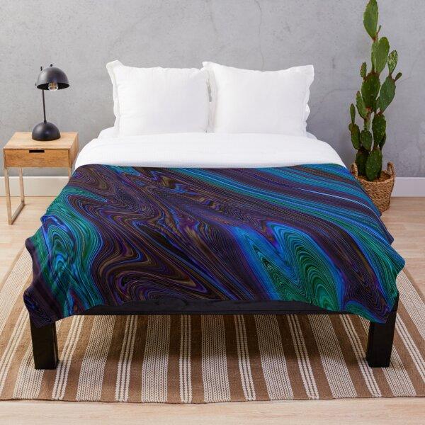 Liquid peacock Throw Blanket