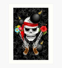 Pirate Skull, Ancient Guns, Flowers and Cannonballs Art Print