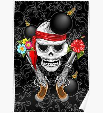 Pirate Skull, Ancient Guns, Flowers and Cannonballs Poster