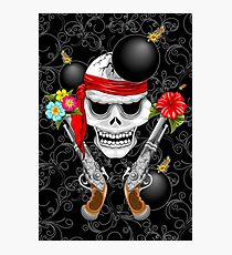 Pirate Skull, Ancient Guns, Flowers and Cannonballs Photographic Print
