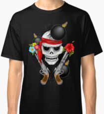 Pirate Skull, Ancient Guns, Flowers and Cannonballs Classic T-Shirt