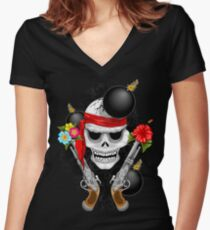 Pirate Skull, Ancient Guns, Flowers and Cannonballs Fitted V-Neck T-Shirt