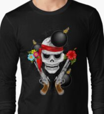 Pirate Skull, Ancient Guns, Flowers and Cannonballs Long Sleeve T-Shirt