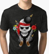 Pirate Skull, Ancient Guns, Flowers and Cannonballs Tri-blend T-Shirt