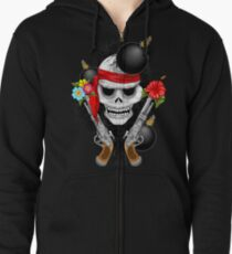 Pirate Skull, Ancient Guns, Flowers and Cannonballs Zipped Hoodie