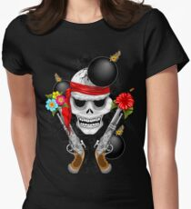 Pirate Skull, Ancient Guns, Flowers and Cannonballs Fitted T-Shirt