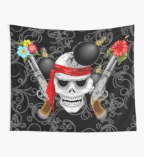 Pirate Skull, Ancient Guns, Flowers and Cannonballs Wall Tapestry